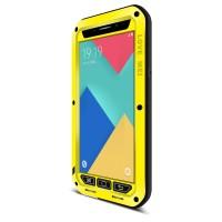 Антиударный пылевлагозащищенный премиум чехол металл/силикон/поликарбонат для Samsung Galaxy A9 Желтый