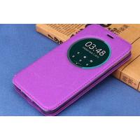 Чехол флип подставка на силиконовой основе с окном вызова для ASUS Zenfone 2 Laser 5 ZE500KL Фиолетовый