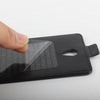 Глянцевый чехол вертикальная книжка с магнитной защелкой на клеевой основе для Oukitel K4000 Черный