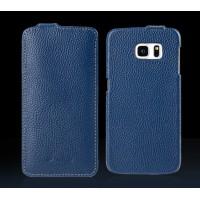 Кожаный чехол вертикальная книжка с крепежной застежкой для Samsung Galaxy S7 Синий