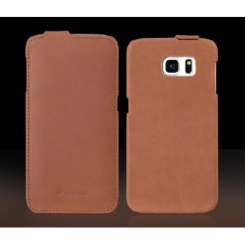 Винтажный кожаный чехол вертикальная книжка с крепежной застежкой для Samsung Galaxy S7