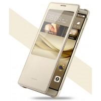 Оригинальный кожаный чехол смарт флип на пластиковой основе с окном вызова для Huawei Mate 8 Бежевый