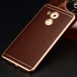 Двухкомпонентный чехол с металлическим бампером и кожаной накладкой для Huawei Mate 8