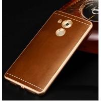 Двухкомпонентный чехол с металлическим бампером и кожаной вощеной накладкой для Huawei Mate 8 Бежевый