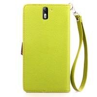 Текстурный чехол портмоне подставка на силиконовой основе с дизайнерской застежкой для OnePlus One Зеленый