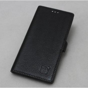 Кожаный чехол горизонтальная книжка (нат. кожа) подставка для OnePlus One