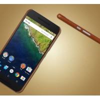 Пластиковый чехол с текстурным покрытием Кожа для Google Huawei Nexus 6P Коричневый
