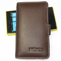 Кожаный чехол-портмоне (нат. кожа) для Nokia Lumia 820 Коричневый