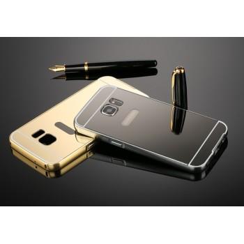 Двухкомпонентный чехол с металлическим бампером и поликарбонатной накладкой с зеркальным покрытием для Samsung Galaxy S7