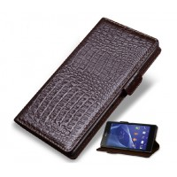 Кожаный чехол-портмоне (нат. кожа крокодила) для Sony Xperia C3