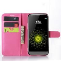 Чехол портмоне подставка на силиконовой основе с магнитной защелкой для LG G5 Пурпурный