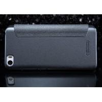Чехол флип на пластиковой матовой нескользящей премиум основе с окном вызова для Xiaomi MI5 Черный
