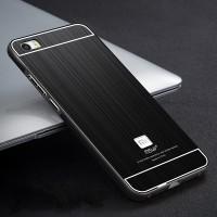 Двухкомпонентный чехол с металлическим бампером и поликарбонатной накладкой текстура Металл для Xiaomi MI5 Черный