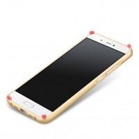 Двухкомпонентный чехол с металлическим бампером и поликарбонатной накладкой текстура Металл для Xiaomi MI5 Бежевый