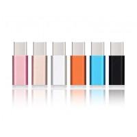 Ультракомпактный переходник Micro USB/USB type C (симметричный) текстура Металлик для Samsung Galaxy Note 4 (duos, lte, N910H, SM-N910H, N910f, SM-N910f, SM-N910C, n910c)