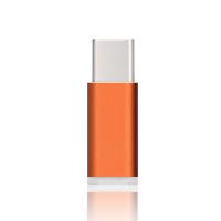 Ультракомпактный переходник Micro USB/USB type C (симметричный) текстура Металлик Оранжевый