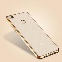 Силиконовый матовый полупрозрачный чехол с металлическим напылением для Xiaomi Mi4S Бежевый