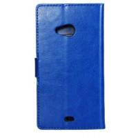 Глянцевый чехол портмоне подставка на пластиковой основе с защелкой для Microsoft Lumia 535 Синий