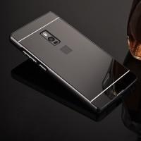 Гибридный двухкомпонентный чехол с металлическим бампером и поликарбонатной крышкой с зеркальным покрытием для OnePlus 2 Черный
