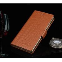Кожаный чехол портмоне (нат. кожа крокодила) подставка для OnePlus 2