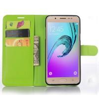 Чехол портмоне подставка на силиконовой основе с магнитной защелкой для Samsung Galaxy J7 (2016) Зеленый
