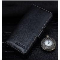 Кожаный чехол портмоне (нат. кожа) с магнитной защелкой для Samsung Galaxy J7 (2016) Черный