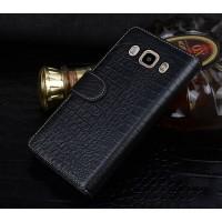 Кожаный чехол портмоне (нат. кожа крокодила) с магнитной защелкой для Samsung Galaxy J7 (2016) Черный