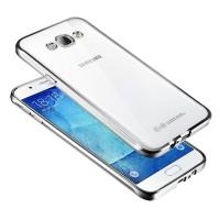 Силиконовый матовый полупрозрачный чехол с покрытием Металлик для Samsung Galaxy J7 (2016) Белый