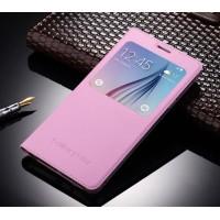 Чехол флип на пластиковой основе с окном вызова для Samsung Galaxy J7 (2016) Розовый