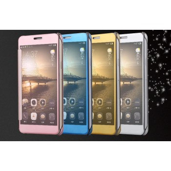 Двухмодульный пластиковый чехол флип с полупрозрачной акриловой крышкой с зеркальным покрытием для Samsung Galaxy J7 (2016)