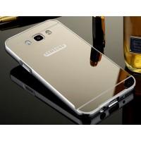 Гибридный двухкомпонентный чехол с металлическим бампером и поликарбонатной крышкой с зеркальным покрытием для Samsung Galaxy J7 (2016) Серый