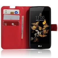 Чехол портмоне подставка с защелкой для LG K8 Красный