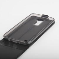 Глянцевый чехол вертикальная книжка на силиконовой основе с магнитной застежкой для LG K8 Черный