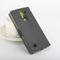 Текстурный чехол портмоне подставка на силиконовой основе с защелкой для LG K8 Черный