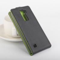 Текстурный чехол вертикальная книжка на силиконовой основе с магнитной застежкой для LG K8 Черный