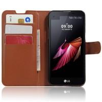Чехол портмоне подставка с защелкой для LG X view Коричневый
