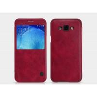 Чехол флип на пластиковой основе с окном вызова текстура Кожа для Samsung Galaxy J5 (2016) Красный