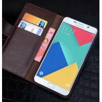 Кожаный чехол портмоне (нат. кожа) для Samsung Galaxy J5 (2016) Коричневый