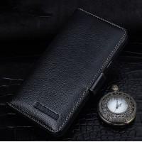 Кожаный чехол портмоне (нат. кожа) для Samsung Galaxy J5 (2016) Черный