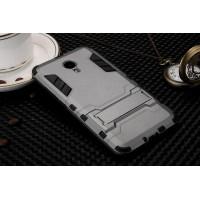 Двухкомпонентный силиконовый чехол с пластиковыми вставками и подставкой для Meizu M3 Note Серый