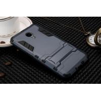Двухкомпонентный силиконовый чехол с пластиковыми вставками и подставкой для Meizu M3 Note Синий