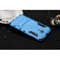 Двухкомпонентный силиконовый чехол с пластиковыми вставками и подставкой для Meizu M3 Note Голубой