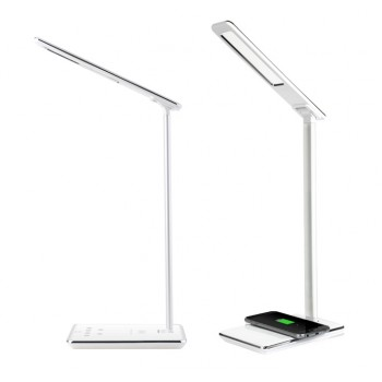 Складная сенсорная LED-лампа USB 2.0 5В 2А с функциями беспроводного qi зарядного устройства (зарядный кабель в комплект не входит)