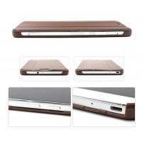 Чехол подставка сегментарный на поликарбонатной основе для Huawei MediaPad X2 Коричневый