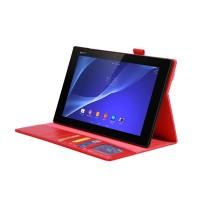 Вощеный чехол подставка с внутренними отсеками и резинкой для Sony Xperia Z2 Tablet