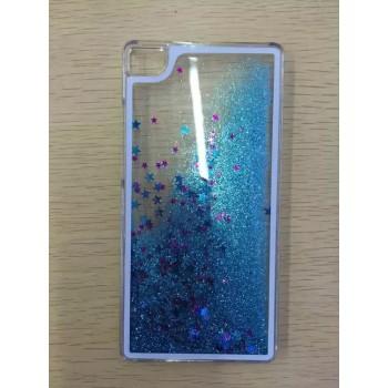 Пластиковый матовый полупрозрачный чехол с внутренней аква аппликацией для Huawei P8