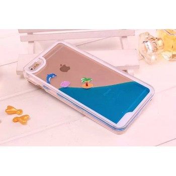 Пластиковый матовый полупрозрачный чехол с внутренней аква аппликацией для Iphone 6 Plus/6s Plus