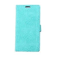 Чехол портмоне подставка с защелкой текстура Крокодил для LG K5 Голубой