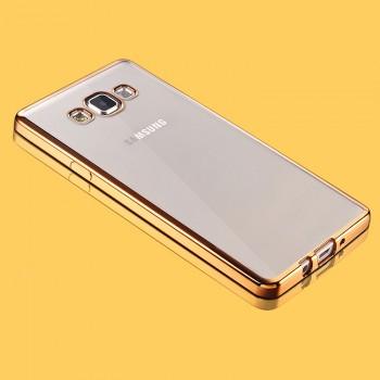 Силиконовый матовый полупрозрачный чехол с металлизированными границами для Samsung Galaxy A5