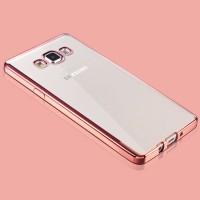 Силиконовый матовый полупрозрачный чехол с металлизированными границами для Samsung Galaxy A5 Розовый